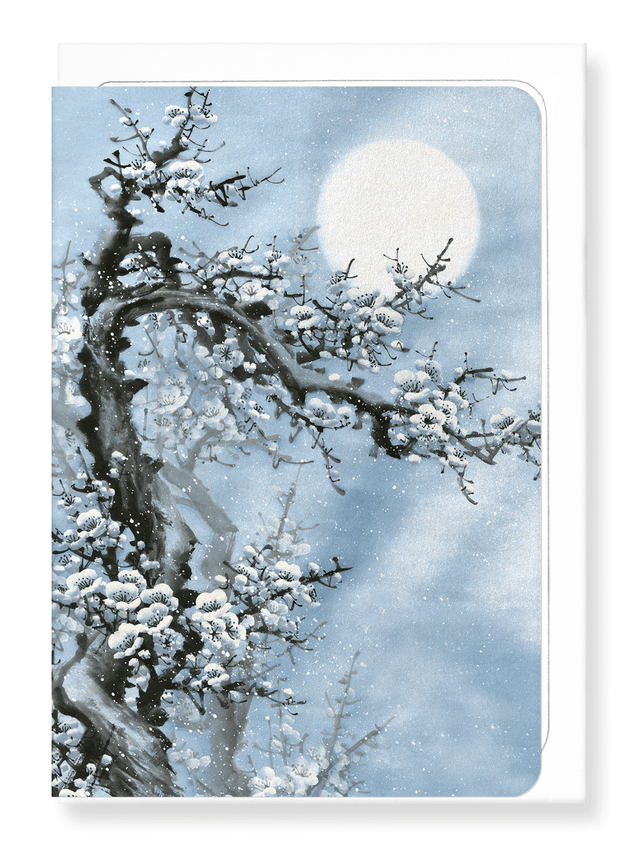 Ezen Designs - Plum blossom in blue moon - Greeting Card - Front