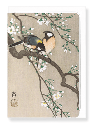 Ezen Designs - Tit birds on cherry branch - Greeting card - Front
