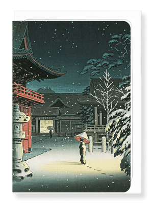 Ezen Designs - Nezu shrine in snow - Greeting Card - Front