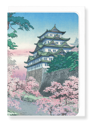 Ezen Designs - Nagoya castle in the spring - Greeting Card - Front