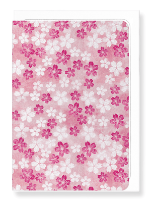 Ezen Designs - Cherry blossom on pink - Greeting Card - Front