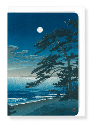 Ezen Designs - Moon at ninomiya beach - Greeting Card - Front