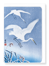 Ezen Designs - Egrets descending in snow - Greeting Card - Front