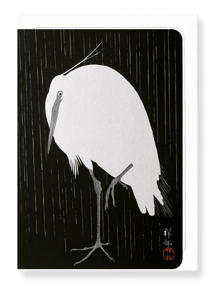 Ezen Designs - Egret in the rain - Greeting Card - Front