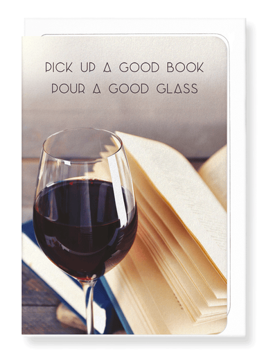 Ezen Designs - Good book and wine - Greeting Card - Front
