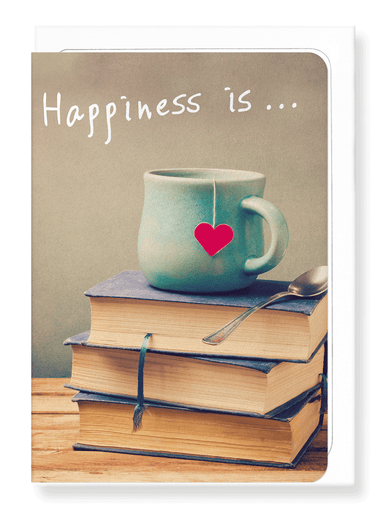 Ezen Designs - Tea and books - Greeting Card - Front