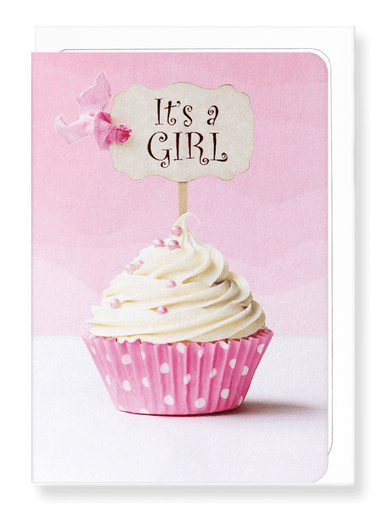 Ezen Designs - It's a girl cupcake - Greeting Card - Front