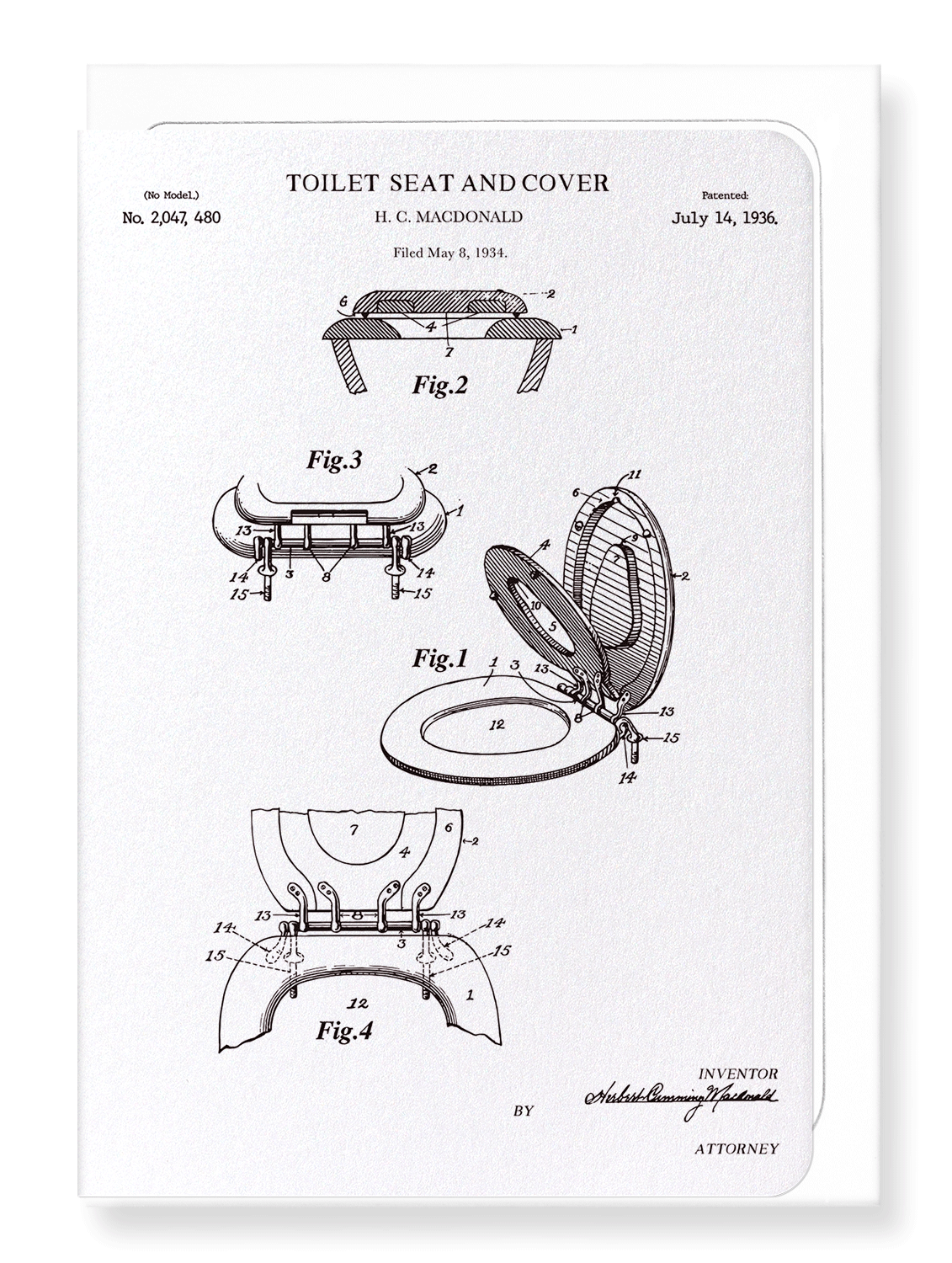 Ezen Designs - Patent of toilet seat and cover (1936) - Greeting Card - Front