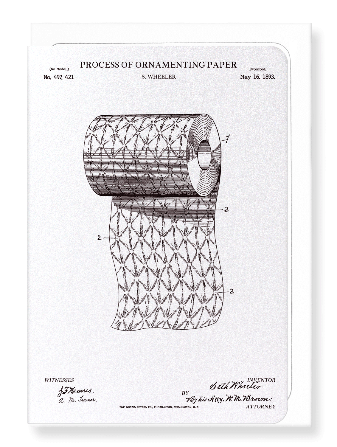 Ezen Designs - Patent of process of ornamenting paper (1893) - Greeting Card - Front