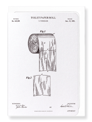 Ezen Designs - Patent of toilet paper roll (1891) - Greeting Card - Front