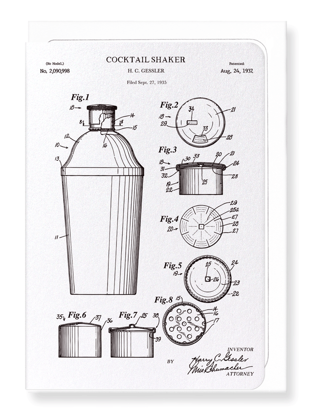 Ezen Designs - Patent of cocktail shaker (1937) - Greeting Card - Front