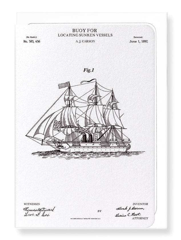 Ezen Designs - Patent of buoy (1897) - Greeting Card - Front