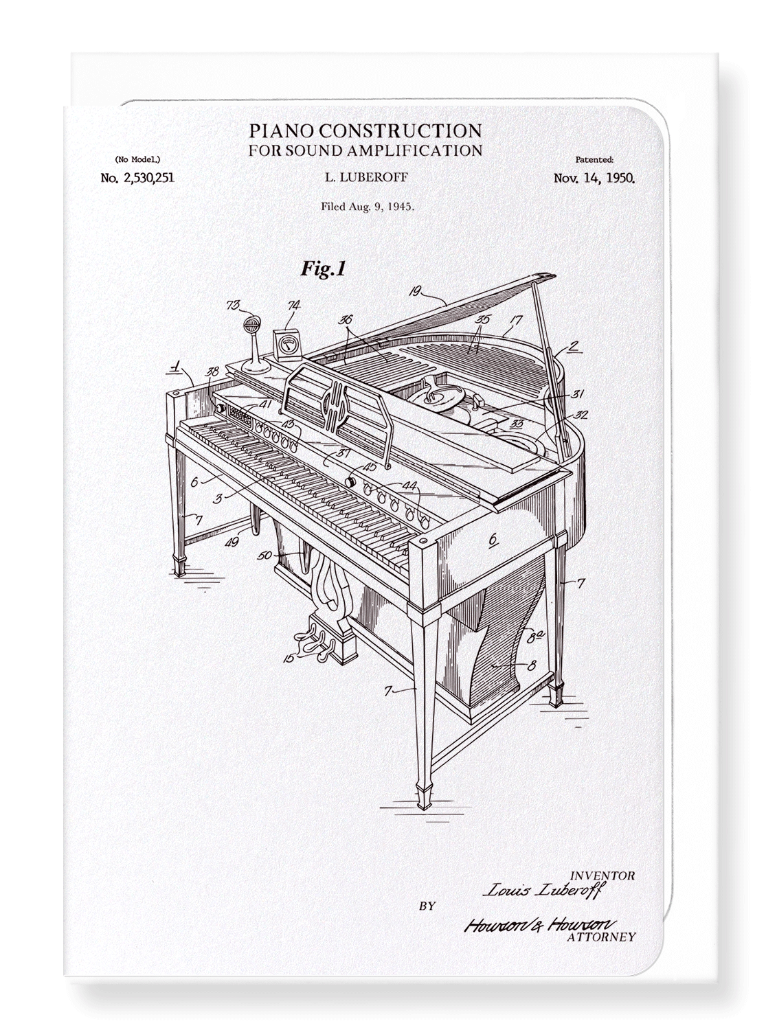 Ezen Designs - Patent of piano construction (1950) - Greeting Card - Front