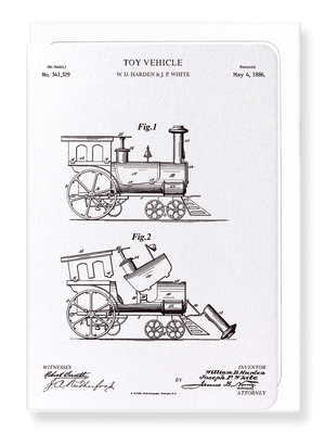 Ezen Designs - Patent of toy train (1886) - Greeting Card - Front
