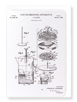 Ezen Designs - Patent of coffee brewing apparatus (1967) - Greeting Card - Front