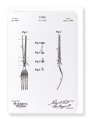 Ezen Designs - Patent of fork (1884) - Greeting Card - Front