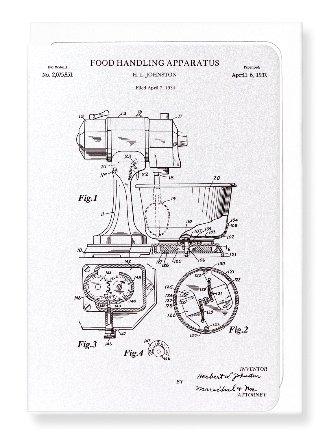 Ezen Designs - Patent of food handling apparatus (1937) - Greeting Card - Front