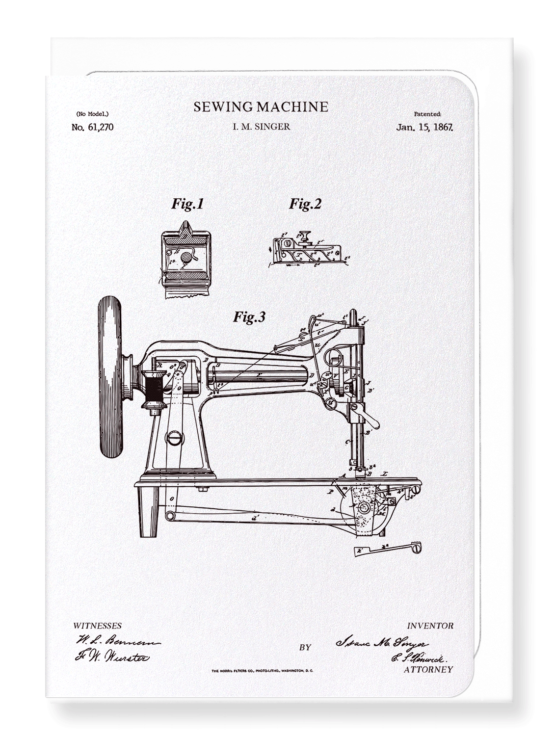 Ezen Designs - Patent of sewing machine (1867) - Greeting Card - Front