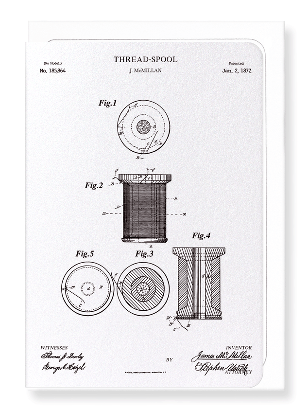 Ezen Designs - Patent of thread spool (1877) - Greeting Card - Front