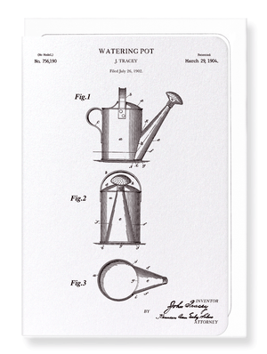 Ezen Designs - Patent of watering pot (1904) - Greeting Card - Front