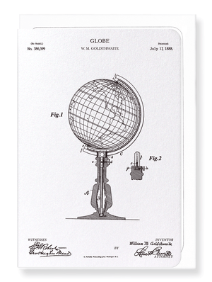 Ezen Designs - Patent of globe (1888) - Greeting Card - Front