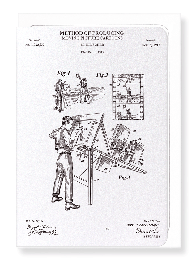 Ezen Designs - Patent of moving picture cartoons (1917) - Greeting Card - Front
