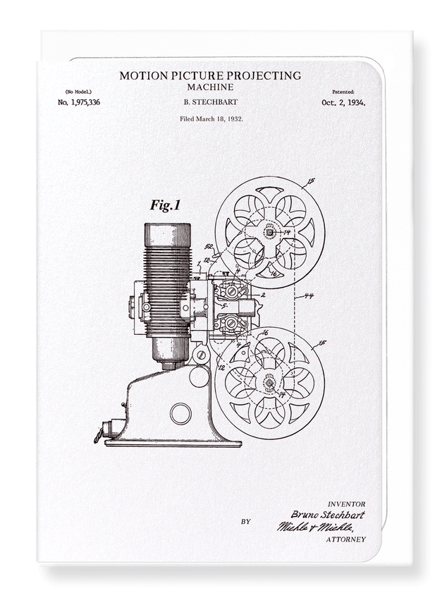 Ezen Designs - Patent of motion picture projecting machine (1934) - Greeting Card - Front