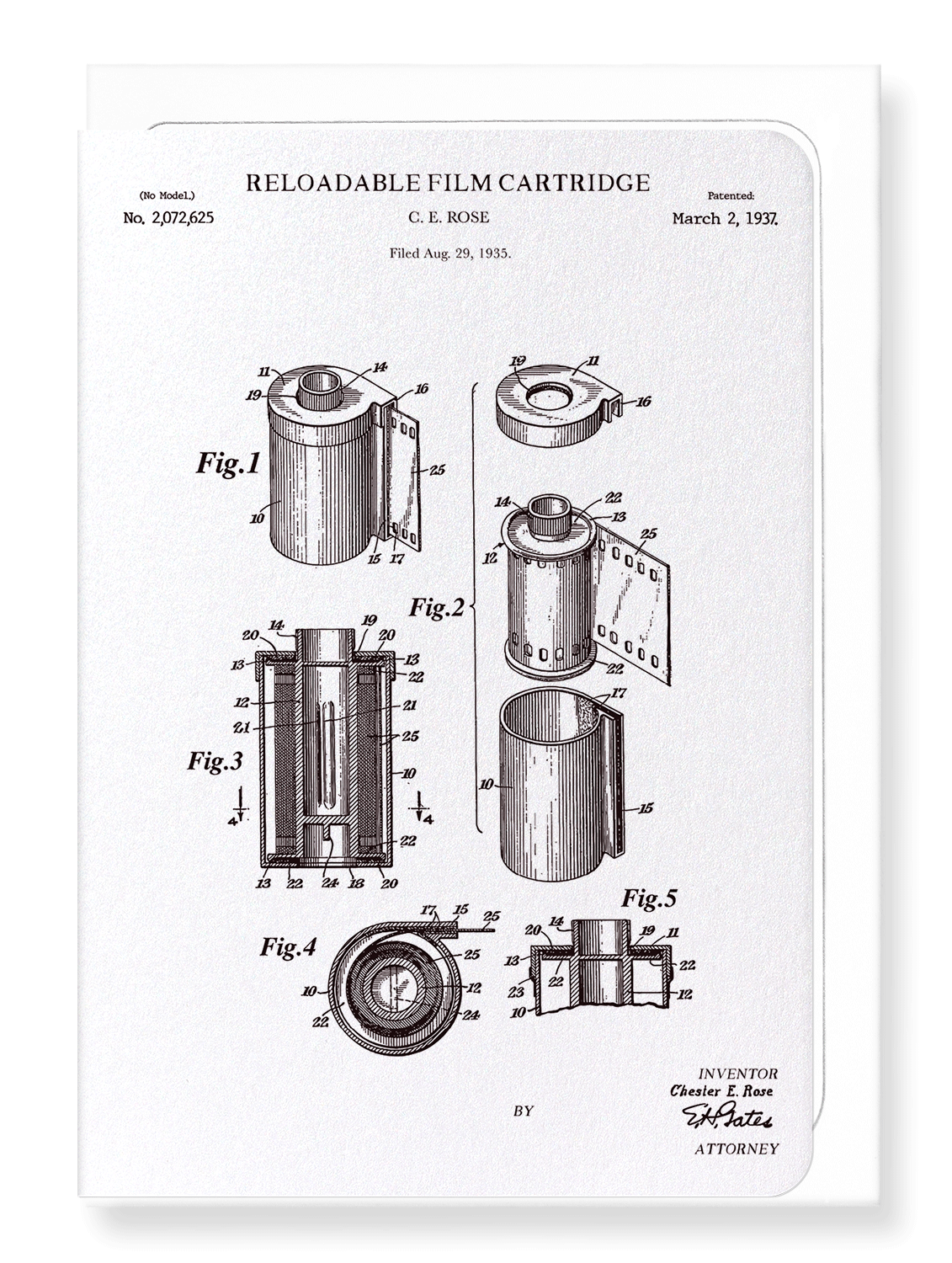 Ezen Designs - Patent of reloadable film (1937) - Greeting Card - Front