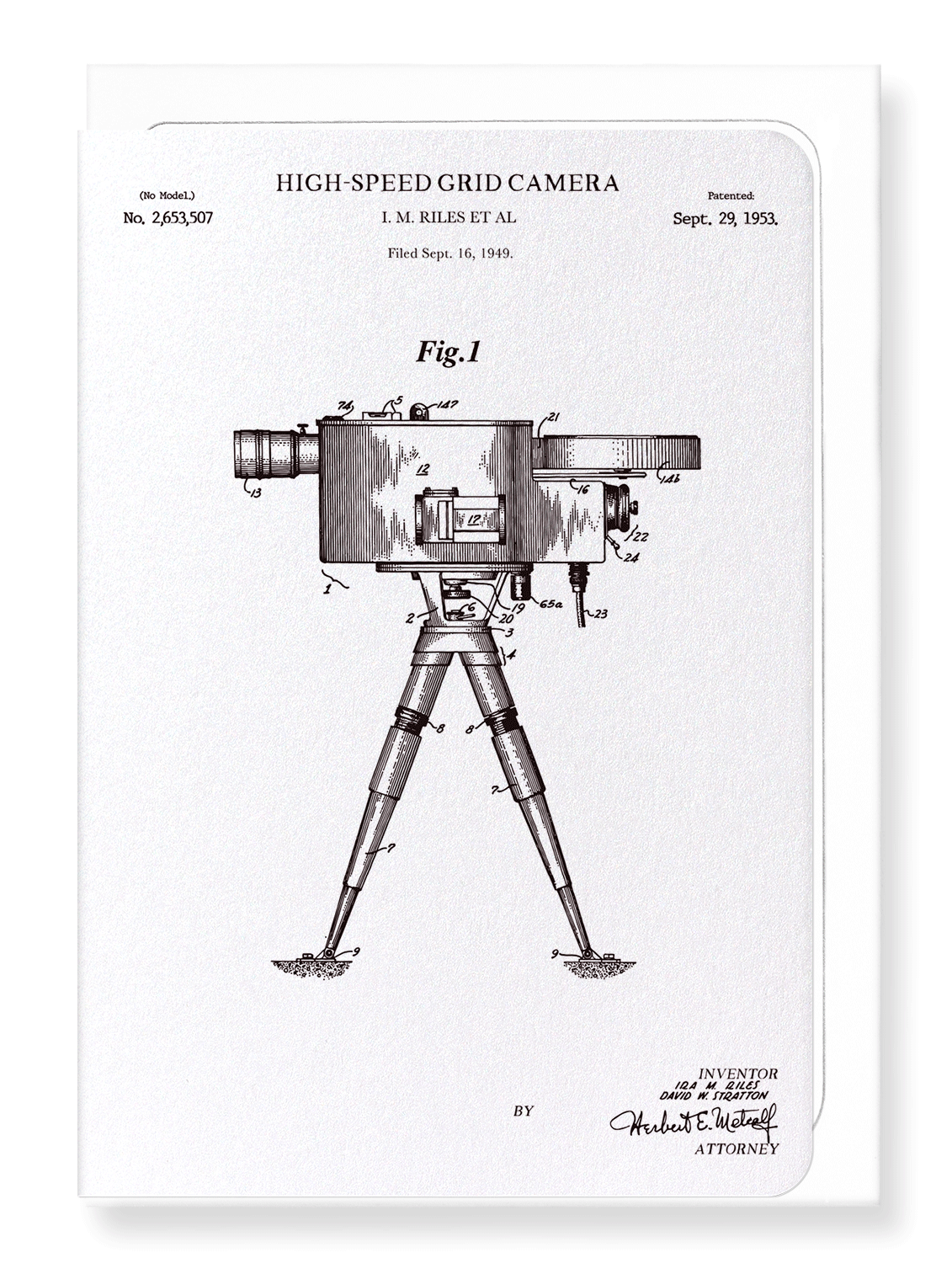 Ezen Designs - Patent of high-speed grid camera (1953) - Greeting Card - Front