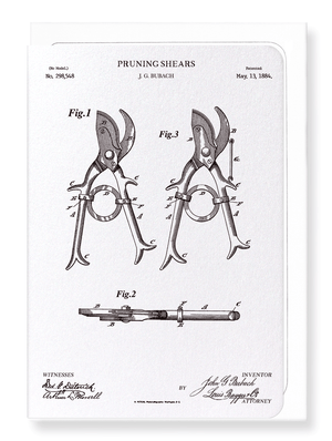Ezen Designs - Patent of pruning shears (1884) - Greeting Card - Front