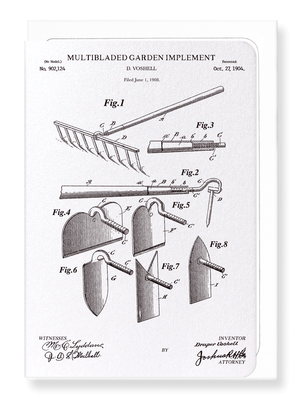 Ezen Designs - Patent of garden implement (1904) - Greeting Card - Front
