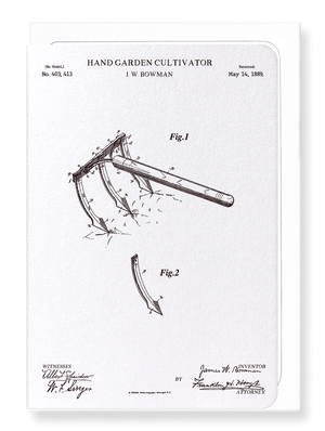 Ezen Designs - Patent of hand garden cultivator (1889) - Greeting Card - Front