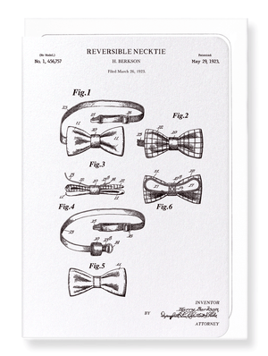 Ezen Designs - Patent of reversible bow tie (1923 - Greeting Card - Front
