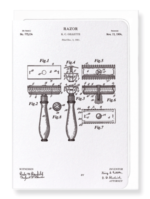 Ezen Designs - Patent of razor (1904) - Greeting Card - Front