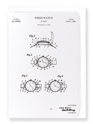 Ezen Designs - Patent of wristwatch (1954) - Greeting Card - Front