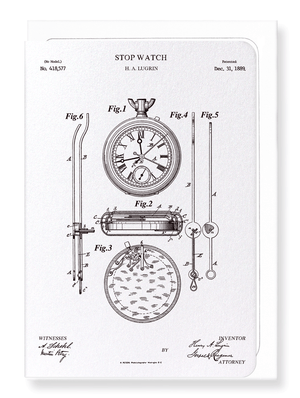 Ezen Designs - Patent of stopwatch (1889) - Greeting Card - Front