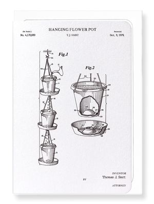 Ezen Designs - Patent of hanging flower pot (1979) - Greeting Card - Front