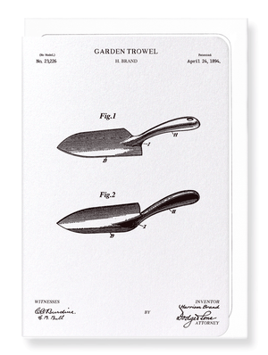 Ezen Designs - Patent of garden trowel (1894) - Greeting Card - Front