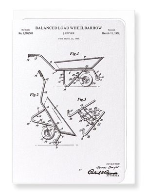Ezen Designs - Patent of wheelbarrow (1952) - Greeting Card - Front