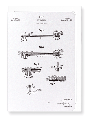 Ezen Designs - Patent of key (1920) - Greeting Card - Front