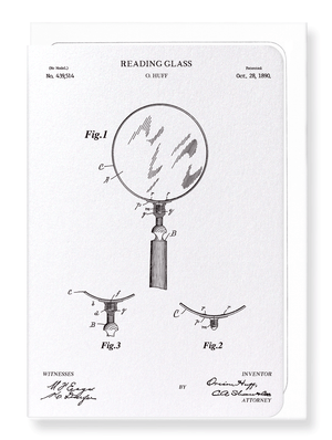 Ezen Designs - Patent of reading glass (1890) - Greeting Card - Front