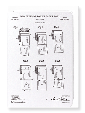 Ezen Designs - Patent of wrapping or toilet paper roll (1891) - Greeting Card - Front