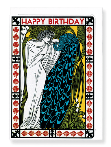 Ezen Designs - Birthday peacock - Greeting Card - Front