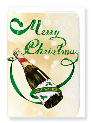 Ezen Designs - Champagne Christmas bottle - Greeting card - Front
