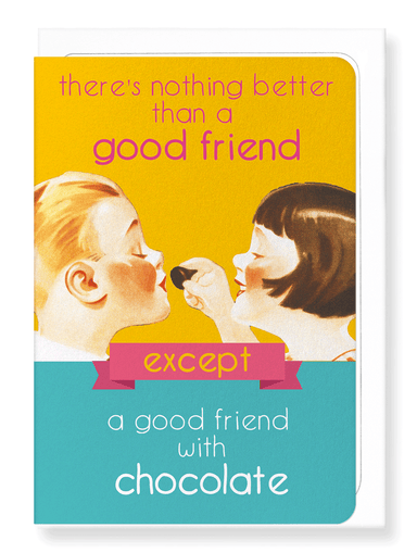 Ezen Designs - Good friend with chocolate - Greeting Card - Front
