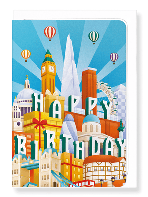 Ezen Designs - London deco birthday - Greeting Card - Front