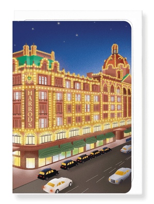 Ezen Designs - Harrods at night - Greeting card - Front