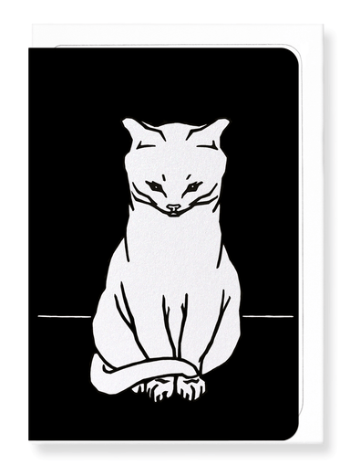 Ezen Designs - Sitting cat (1918) in white - Greeting Card - Front