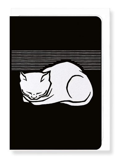 Ezen Designs - Sleeping cat (1917) in white - Greeting Card - Front