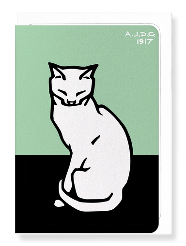 Ezen Designs - Sitting cat with closed eyes (1917) - Greeting Card - Front